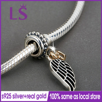 LS 100% 925 Silver 1.4k Real G.old Angel wing with heart Dangle Pendants Fit Original Bracelets Pulseira Paracord Fine Jewelry N