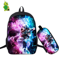 Horror Suicide Squad Deadpool Backpack 2 Pcs/Set School Bag for Teenage Boy Girl Students Laptop Backpack Pencil Case Travel Bag