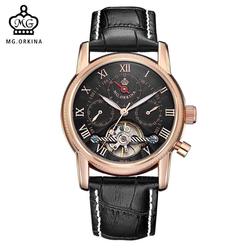 все цены на MG. ORKINA Mens Watches Rose Gold Case Auto Date Display Tourbillon Automatic Mechanical Watch Reloj Hombre онлайн