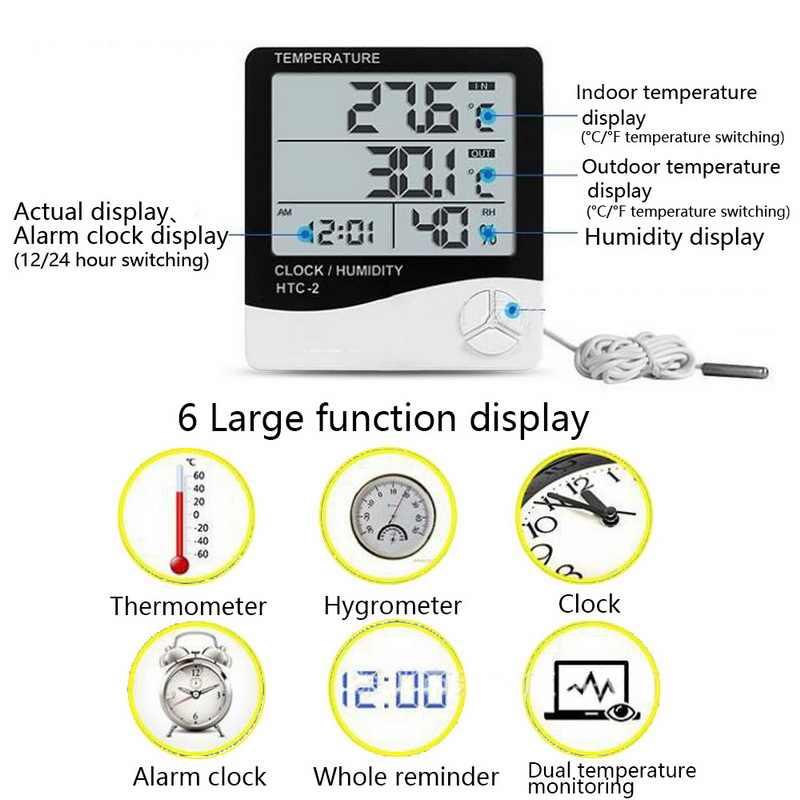 Urijk LCD cyfrowy miernik temperatury i wilgotności HTC-1 HTC-2 Home Indoor Outdoor higrometr termometr stacja pogodowa z zegarem