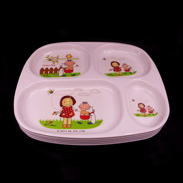 Baby Dinnerware Cartoon Rabbit Design Kids Snacks Dessert Dish Tray Cute Children Melamine Plates Tray : cute plastic plates - pezcame.com