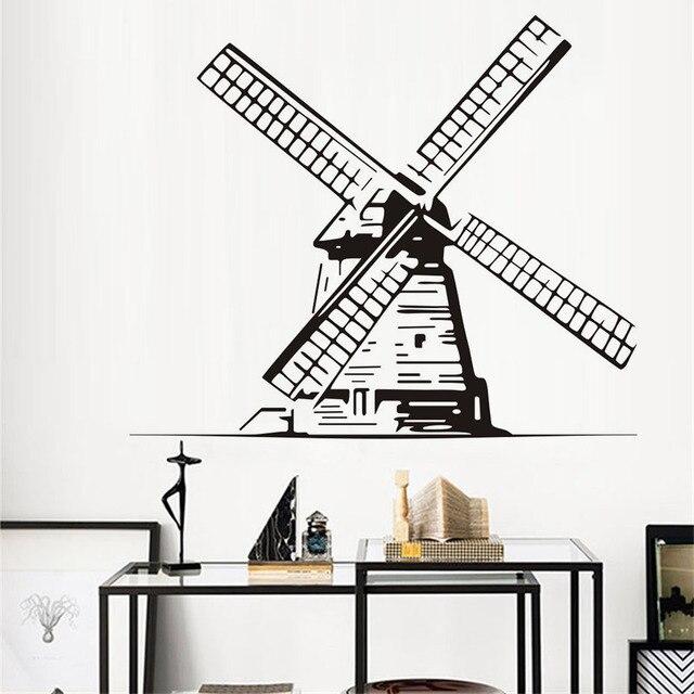 Große Windmühle Wandaufkleber Retro Windmühle Vinyl Aufkleber Architektur Home  Interior Decor Kunst Wandbilder Kindergarten Schlafzimmer Ideen