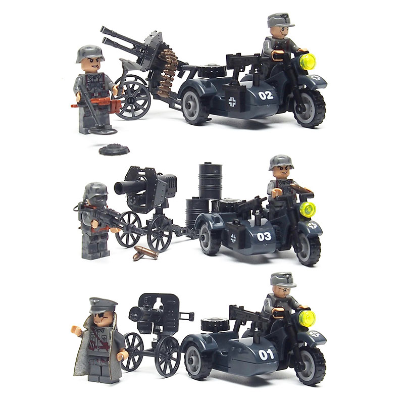 WW2 Military weapon figures Motorcycle soldier building blocks brick Set Army weapon toys for children enlighten 1406 8 in 1 combat zones military army cars aircraft carrier weapon building blocks toys for children