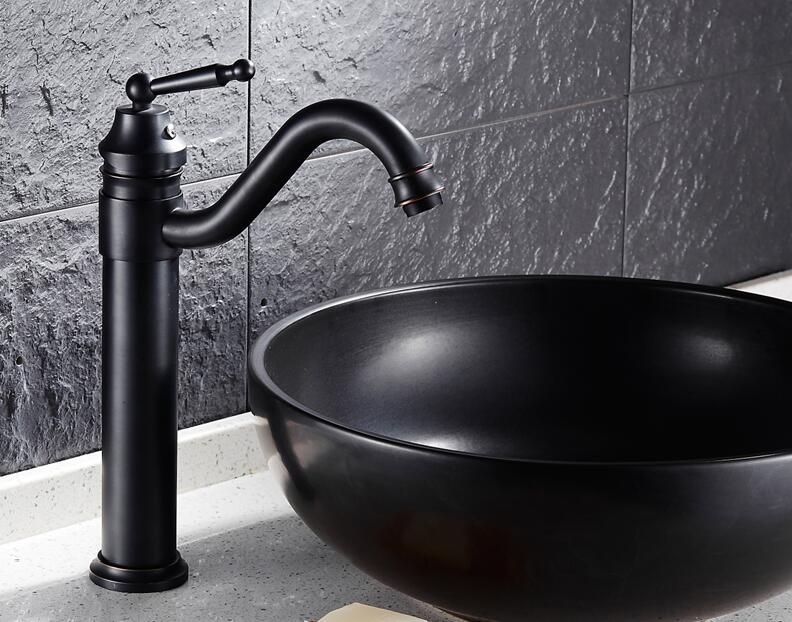 Badkamer Kraan Zwart : Gratis verzending massief messing badkamer wastafel kraan zwart