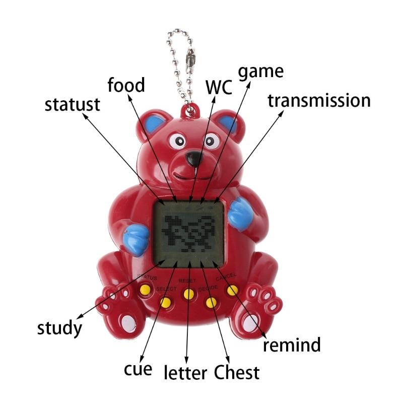 LCD Virtual Digital Pet Handheld Electronic Game Machine With Keychain Bear Shape
