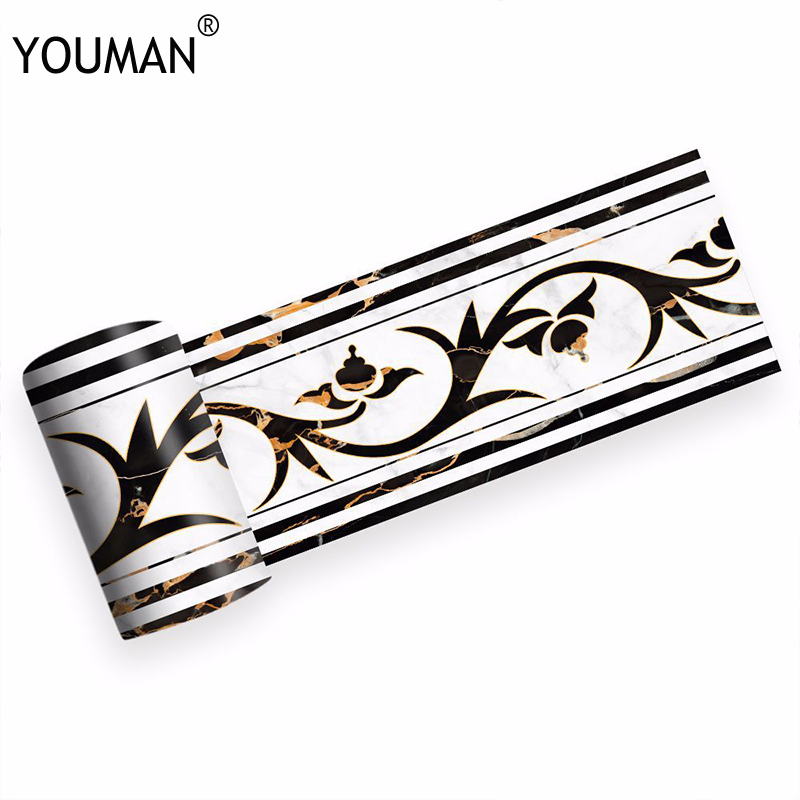 Wallpapers youman PVC Waterproof Wallpaper Border Home Decor for Kitchen Bathroom Tiles Waist Line Self Adhesive Wallpaper Walls in Wallpaper Borders from Home Improvement