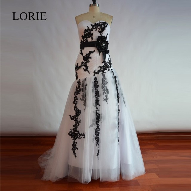 Vintage White And Black Mermaid Wedding Dress 2018 Vestido De Novia