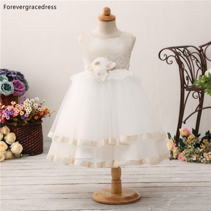 Forevergracedress Elegant Lovely   Flower     Girls     Dresses   2019 Handmade Sleeveless Kids Pageant Children Gowns