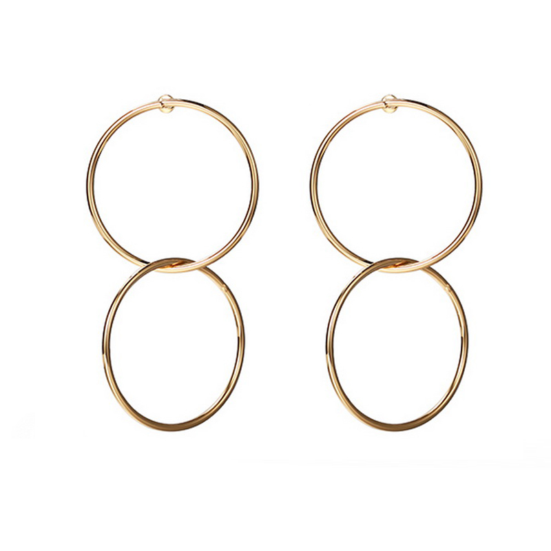 Double Big Round Punk Golden Earrings Basketball Wives Large Hoop Earrings Hollow Cricles Jewelry