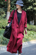 2016 female new autumn and winter linen jacquard suit collar popper outerwear  long-sleeve suit type loose big trench