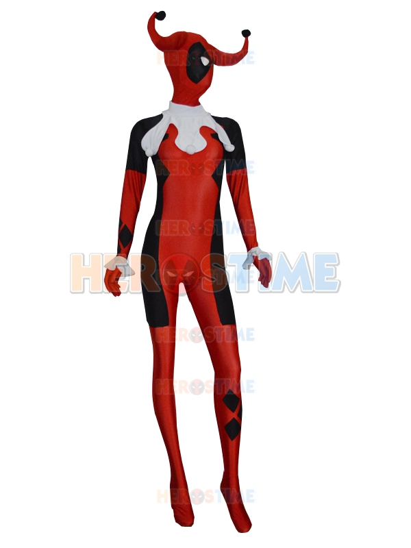 Newest Deadpool Superhero Costume Spandex Lycra Harley Quinn Fullbody Zentai Suit Cosplay Halloween For Female /Women/Lady