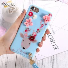 KISSCASE Soft TPU Silicone Case For iPhone 6S Plus Cute 3D Flower Deer Coque Fashion Girl Back Cover Fundas For iPhone 6 6S Plus