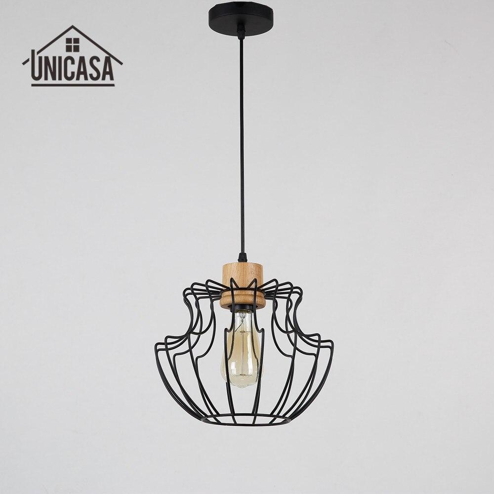 Antique Wooden Pendant Lights Wrought Iron font b Industrial b font Lighting font b Kitchen b