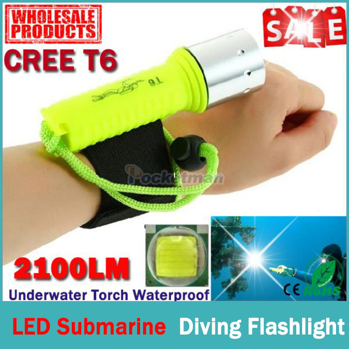 New 2100LM CREE T6 LED Waterproof underwater scuba Dive Diving Flashlight Dive Torch light lamp for diving free shipping