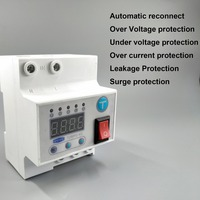 63A Automatic reconnect circuit breaker with over and under voltage over current Leakage protection surge protect relay