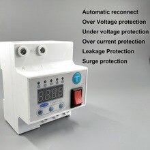 Interruptor de reconexão automático 63a com sobre e sob tensão sobre proteção contra vazamento de corrente contra surtos proteger relé