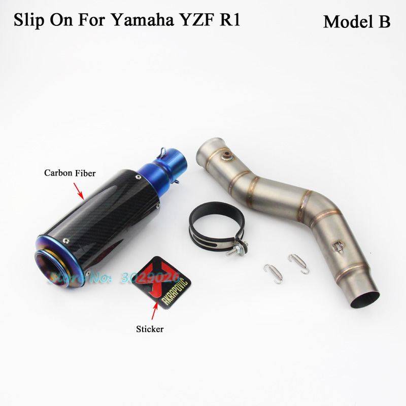 R1 Slip On For Yamaha YZF R1 2009-20104 Motorcycle Modified Exhaust Muffler Set Right Side Link Pipe + Escape Sticker
