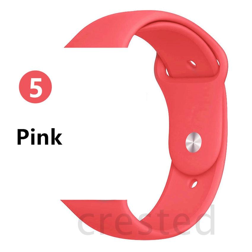 Силиконовый ремешок для apple watch 4 5 44 мм/40 мм спортивный ремешки для apple watch 3 42 мм/38 мм резиновый ремень браслет ремешок для часов apple watch Band Мягкий красочный ремешок iwatch series 4 3 2 1 - Цвет ремешка: Pink