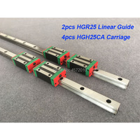 2pcs HGR25 1100mm 1200mm 1300mm 1500mm linear guide rail with 4pcs HGH25CA/HGW25CA linear block carriage CNC parts