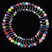 1 Set 30pcsBody Piercing Stripes Ball Belly Navel Ring Button Bar Barbell Body Piercing Rings Jewelry