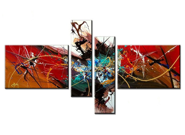 4pcs/set Red Color Painted Real Handmade Modern  Oil Painting On Canvas Wall Art for Living Room Decoration Gift No Frame,Z059
