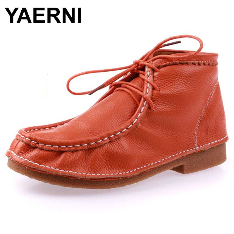 YAERNI Women Casual Boots Shoes Ankle Full Grain Leather Lace up Low Ladies Genuine Leather Flats Spring Autumn motorcycle boots men spring autumn full grain leather ankle boots lace up fashion casual real leather men boots 20170107