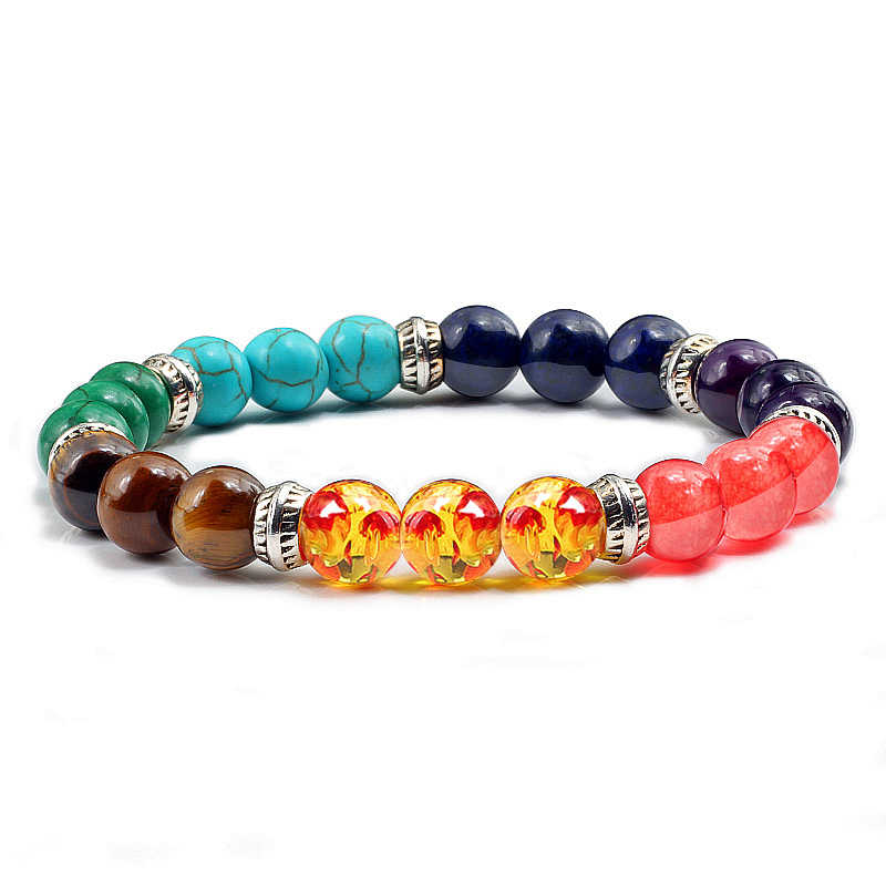 Classique 7 Chakra Bracelet Yin Yang Perle Guérison Équilibre Perles Bracelets Femmes Reiki Bouddha Prière Naturel Pierre De Yoga Bracelets