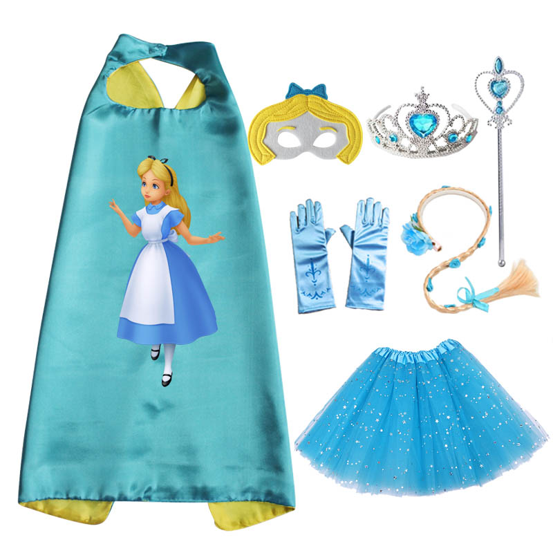 Alice In Wordland Costume Party Cape Mask Tutu Tiara Wand Glove Braid for Girls Christmas Costume Cosplay Dress