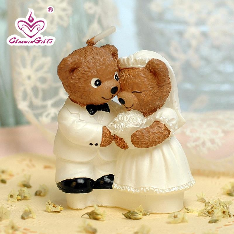 Teddy Bear Candle Bride Groom Smookless Wedding Aniversary Party Favor Guest Gift Cake Topper Decoration In Favors From Home Garden On