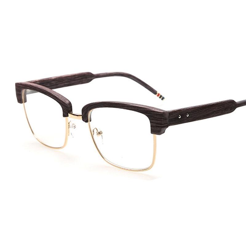 Imitation Wood Glasses Men Half Frames Spectacles Clear Lens Reading ...