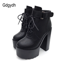 Gdgydh Hot Sale Russian Shoes Black Platform Boots Women Zipper Autumn High Heels Shoes Lace Up Ankle Boots White Rubber Sole
