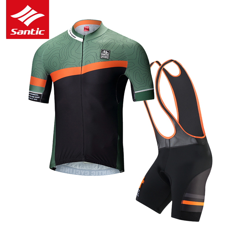 Santic Cycling Jersey Set Short Sleeve Men MTB Road Bike Bicycle Jersey Pro Team Cycling Skinsuit