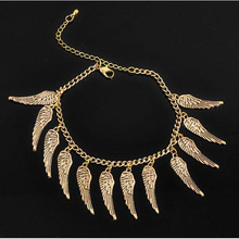 European New Arrival Punk Style Gold Color Foot Chain Fashion Angel Wings Anklets For Women Jewelry Gift Bracelet Wholesale 9291