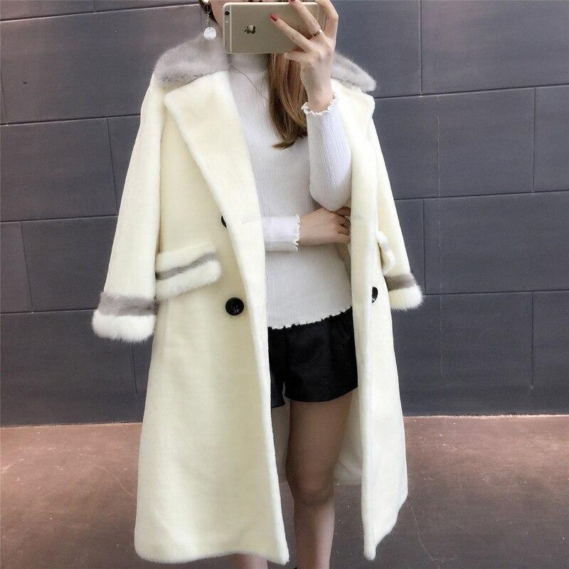 Épais gris Beige Féminins Naturel Hiver Chaud Femmes Manteau Phoenix Des Col Vison noir Tonte Nouveau Mode Vêtements De Fourrure Moutons 71105b F48qR1