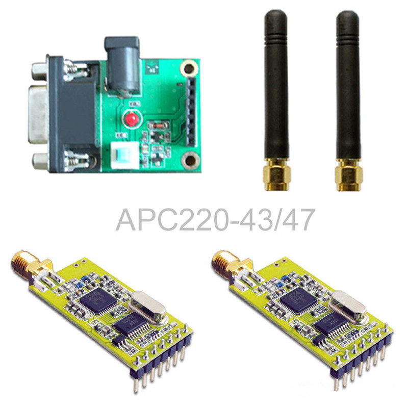 APC220-43 wireless transceiver module / set with a serial board set drf4431f13 433mhz 13dbm rf wireless transceiver module