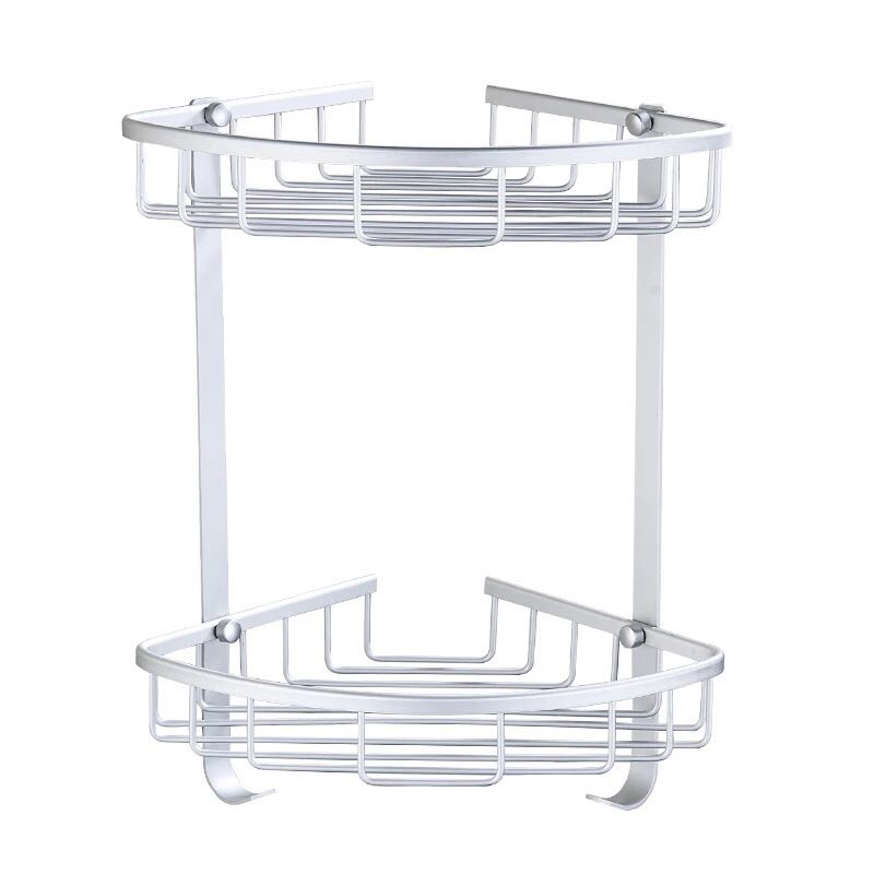 Space Aluminum Double Layer Triangle Silver Bathroom Rack Corner Storage Rack Holder Solid Bathroom Shelves Restroom Triangle F in Bathroom Shelves from Home Improvement