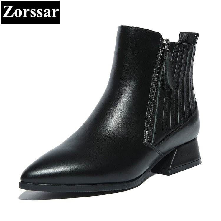 {Zorssar}2018 NEW Arrival Fashion Women Short Boots Low heel ankle pointed Toe Martin boots large size womens shoes winter boots zorssar brands 2018 new arrival fashion women shoes thick heel zipper ankle chelsea boots square toe high heels womens boots