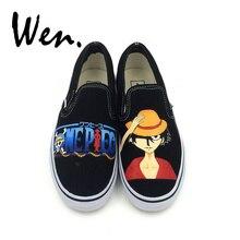 400fcfa56d1 Wen Design Pintados À Mão Sapatos de Anime One Piece Monkey D. luffy  Deslizamento Em Sapatas de lona Personalizado Esportes Sapa.