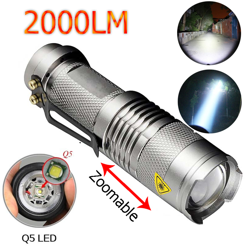 LED Flashlight 2000Lumens Silver Torche Lampe CREE Q5 Lanterna LED 3 Modes Zoomable Torch zaklamp taschenlampe torcia Linterna led flashlight 2000 lumens powerful flashlight lantern torch light mini zoomable penlight lanterna lampe torche zk91
