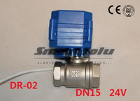 Free shipping 1/2 BSP DN15 24V DC Stainless steel ,2 way Electrical MINI Ball Valve CR 02 Wires electric automatic valve