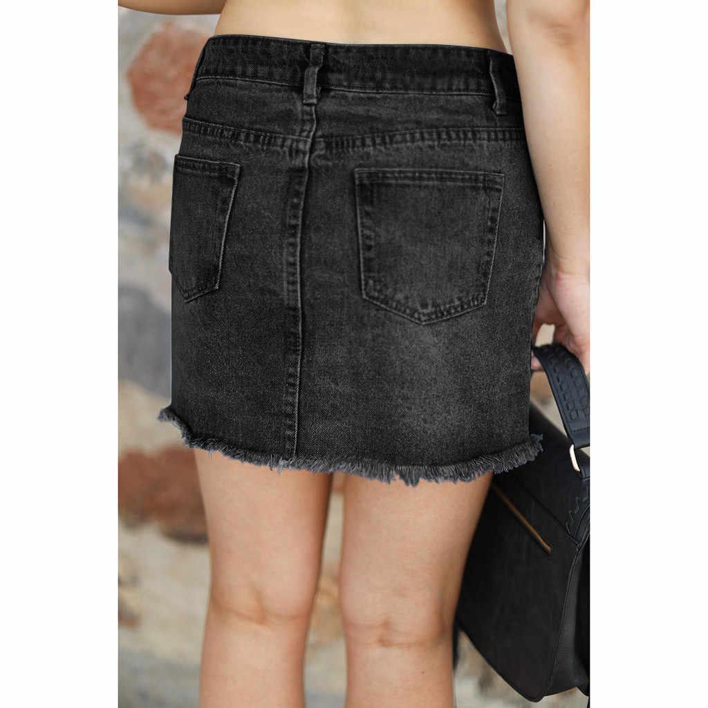 Feitong 2019 Yeni Seksi Kadın Moda Elastik Düzensiz Kot Açık Rahat Çizme Kesim Mini Etek Falda corta @ 6