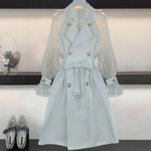 Double-breasted windbreaker women fahion spring autumn slim belted mesh patchwork trench
