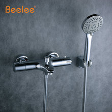 Beelee Wall Mounted Bath Thermostatic Faucet Mixer Shower Exposed Valve Bottom Brass Thermostatic Bathtub Faucet for Bath BL0205 недорого