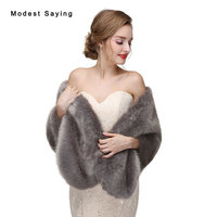 Elegant Grey Faux Fur Wedding Shawls 2017 Imitation Fox Fur Bridal Bolero Women Warm Wraps Wedding