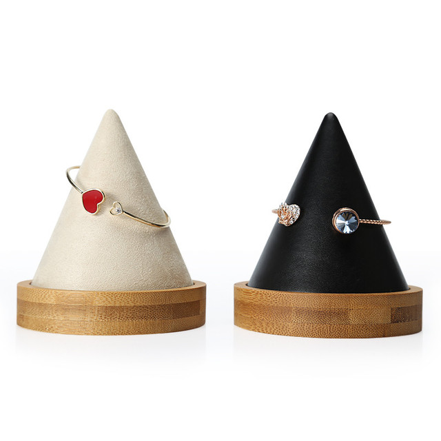 Cone Shape Bamboo Wood Pu Leather Bracelets Bangle Display Holder Jewelry Rack Jewellery Stand