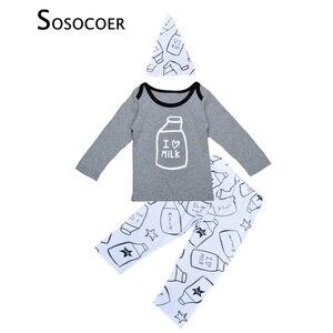 SOSOCOER/комплект одежды для мальчиков и девочек с изображением бутылки молока, футболка с надписью «I Love Milk» + штаны + шапочка, Детские комплекты...