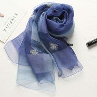 High Quality Women Fashion Big Size Natural Genuine Silk Pashmina Scarf Butterfly Embroidery Real Silk Scarf