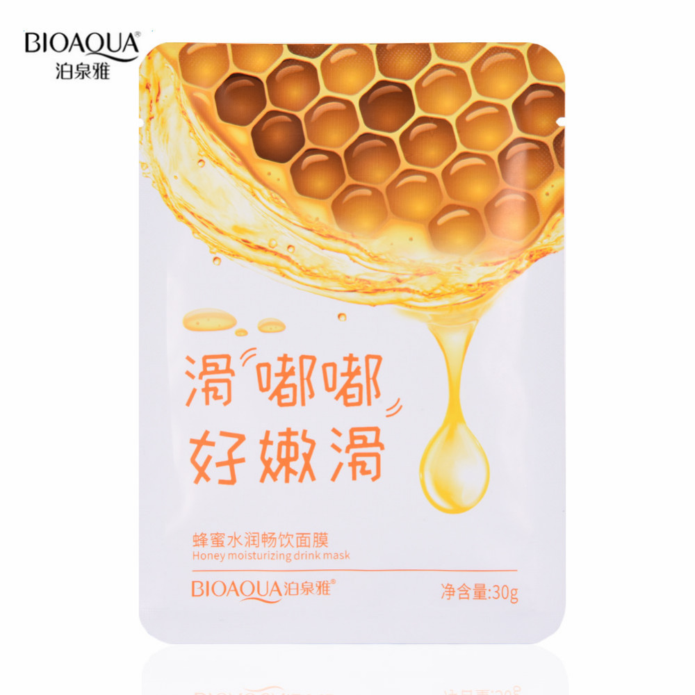 Bioaqua Honey Facial Mask Moisturizing Shrink Pores Face Mask Oil Control Brighten Nourishing Mask Skin Care Skin Care Mask