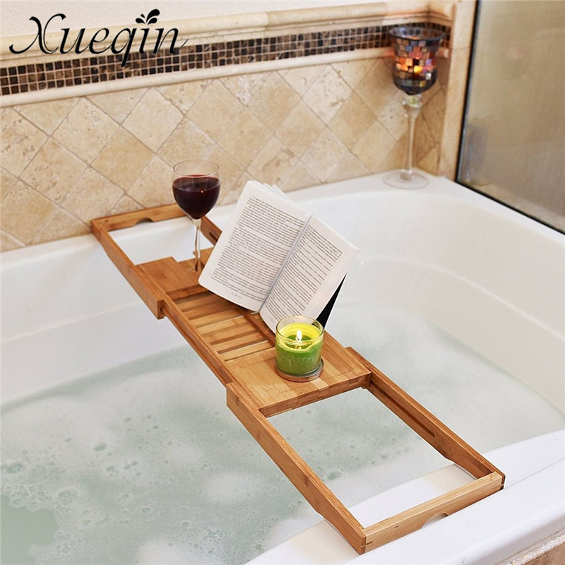 Xueqin Bathroom Bath Tub Books phone Wine Cup Rack Shower Tray Holder Home Stand Sundries Organizer Adjustable Bathroom Shelves