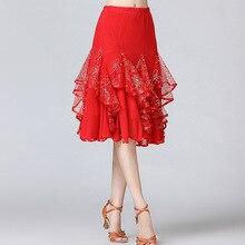 Новые Бальные Танцевальные юбки женские латинские танго современные танцевальные юбки национальный стандарт вальс, фламенко для спортивных танцев платье